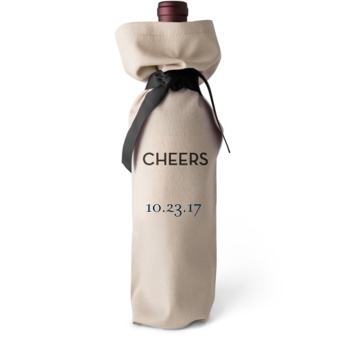 Special Date Wine Bag, Wine Bag Linen, Add Personalization, Cheers, White