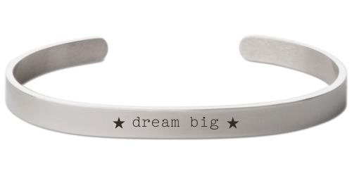 Dream Big Engraved Cuff, Silver