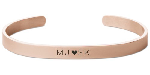 Perfect Pair Heart Engraved Cuff, Rose Gold