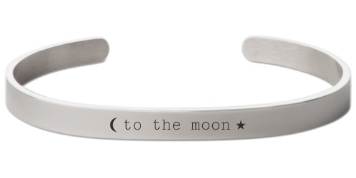 To The Moon Engraved Cuff, Silver