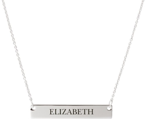 Make It Yours Engraved Bar Necklace, Silver, Engraved Necklace Single Side