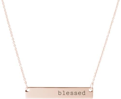 Blessed Engraved Bar Necklace, Rose Gold, Engraved Necklace Single Side