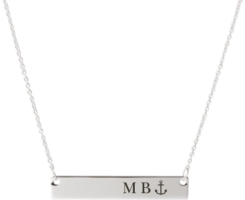 Anchor Engraved Bar Necklace, Silver, Engraved Necklace Double Side