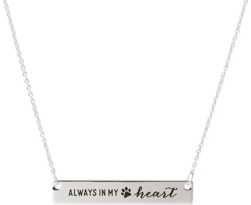 Paw Heart Engraved Bar Necklace, Silver, Engraved Necklace Single Side