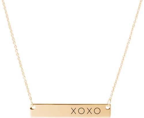 Hug Kiss Hug Engraved Bar Necklace, Gold, Engraved Necklace Double Side