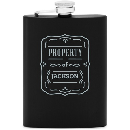 Property Of Flask, Matte Black, Flask Double Side, Stainless Steel, White