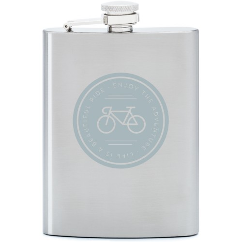 Beautiful Ride Flask, Stainless Steel, Flask Double Side, Stainless Steel, White