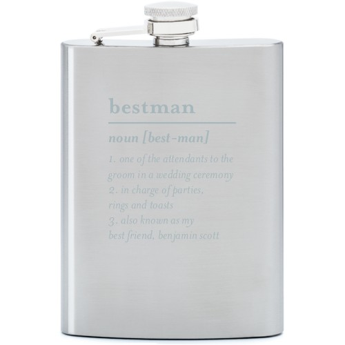 Best Man Flask, Stainless Steel, Flask Double Side, Stainless Steel, White