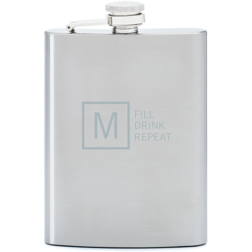 Fill Drink Repeat Flask, Stainless Steel, Flask Double Side, Stainless Steel, White