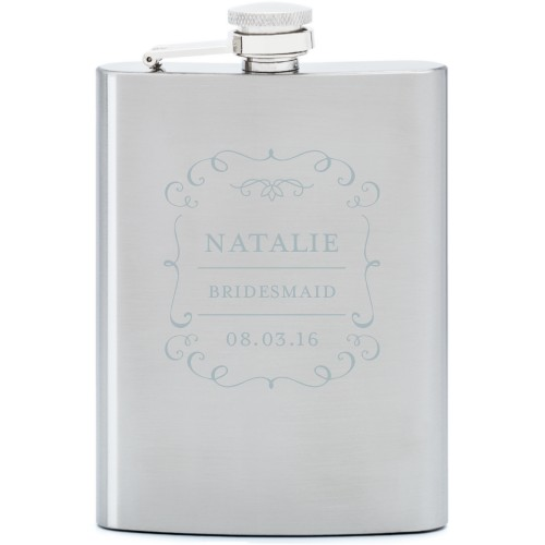 Whimsical Frame Flask, Stainless Steel, Flask Single Side, Stainless Steel, White