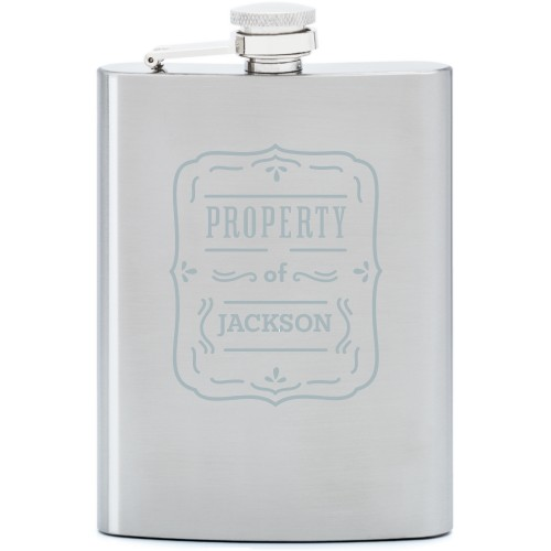 Property Of Flask, Stainless Steel, Flask Single Side, Stainless Steel, White