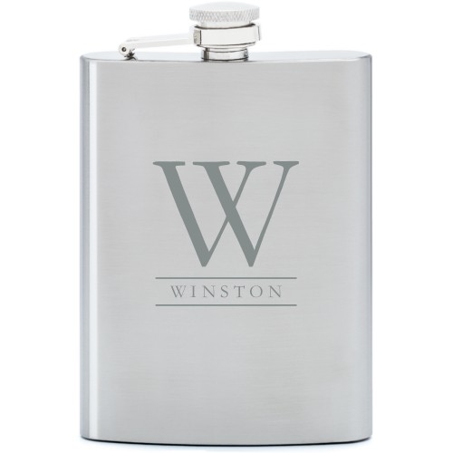 Monogram Lines Flask, Stainless Steel, Flask Double Side, Stainless Steel, White