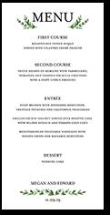 serene love wedding menu