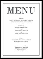 divine elegance wedding menu