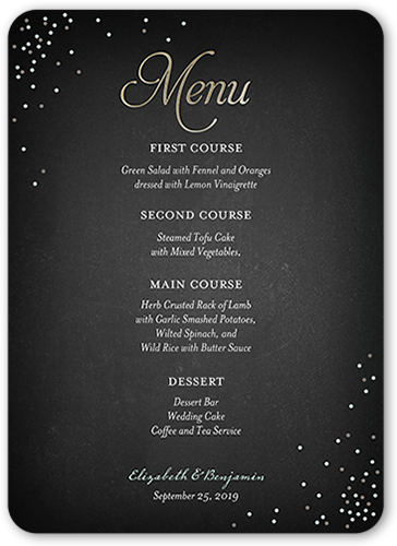 Splendid Statement Wedding Menu