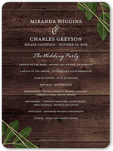 ingrained love wedding program - Shutterfly Wedding Invitations