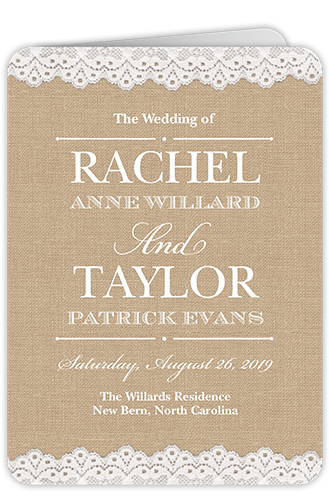 Burlap And Lace Wedding Program