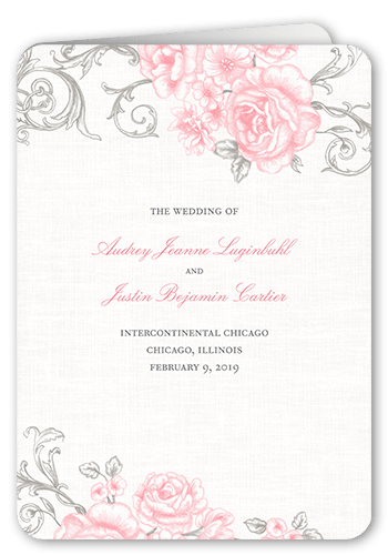antique rose scrolls 5x7 folded wedding program by lady jae shutterfly