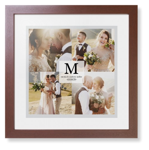 Classic Initial Framed Print, Brown, Contemporary, White, White, Single piece, 16 x 16 inches, Grey