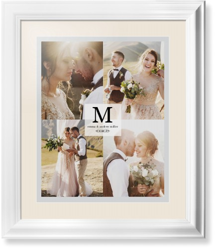 Classic Initial Framed Print, White, Classic, White, Cream, Single piece, 16 x 20 inches, Grey