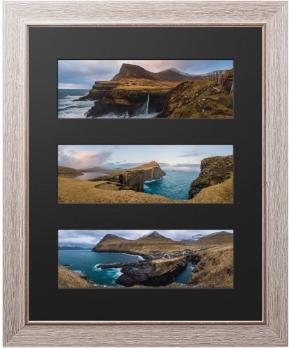 Panoramic Three Up Deluxe Mat Framed Print, Rustic, Modern, Black, Single piece, 16 x 20 ...