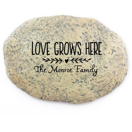 Love Grows Garden Stone, Large Oval Garden Stone (11x8), White