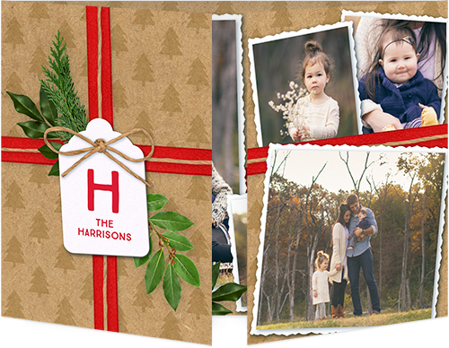 Wrapped Sentiment Christmas Card, Square Corners