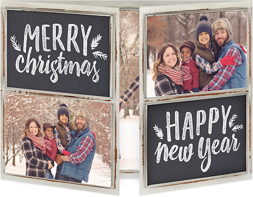 Chalkboard Merry Foliage Christmas Card, Square Corners