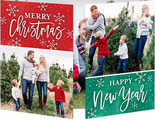 Merry Falling Flurries Christmas Card, Square Corners