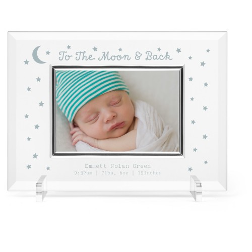 To The Moon and Back Glass Frame, 11x8 Engraved Glass Frame, - Photo insert, White
