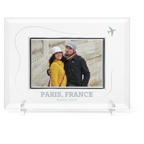 Journey Glass Frame, 11x8 Engraved Glass Frame, - No photo insert, White