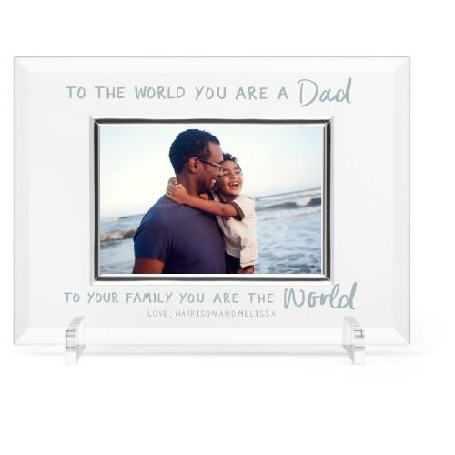 My Dad My World Glass Frame, 11x8 Engraved Glass Frame, - Photo insert, White
