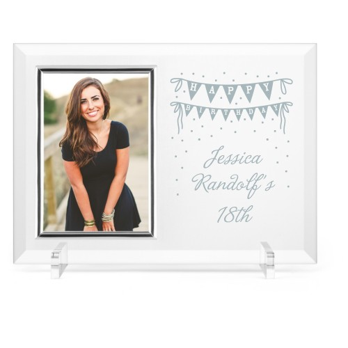 Birthday Banner Glass Frame, 11x8 Engraved Glass Frame, - Photo insert, White