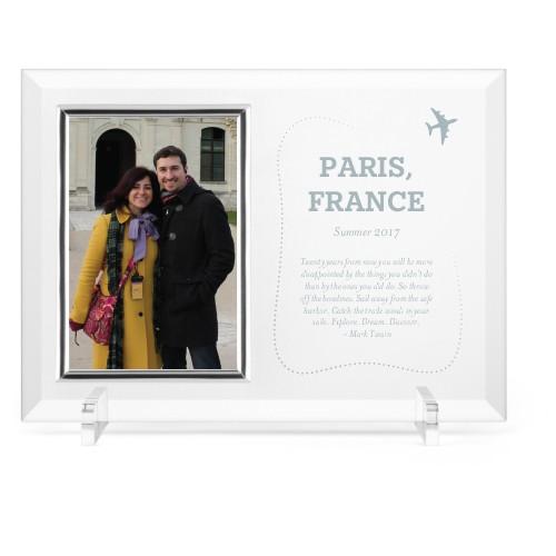 Journey Glass Frame, 11x8 Engraved Glass Frame, - No photo insert, White
