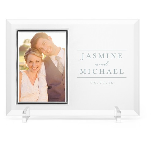 Simple Lines Glass Frame, 11x8 Engraved Glass Frame, - Photo insert, White