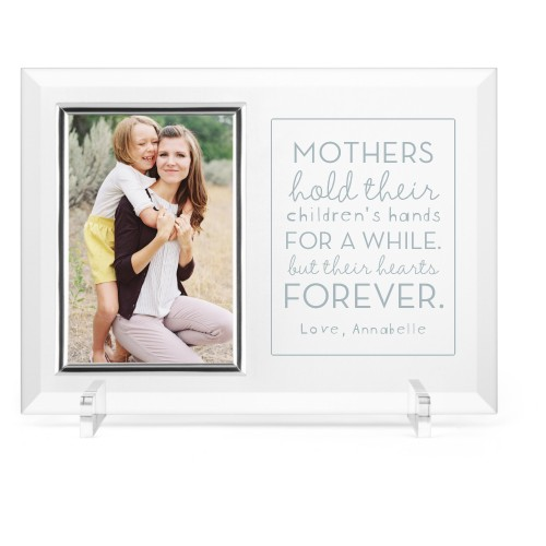 A Mother's Love Glass Frame, 11x8 Engraved Glass Frame, - Photo insert, White