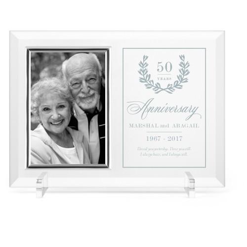 Forever Love Glass Frame, 11x8 Engraved Glass Frame, - No photo insert, White