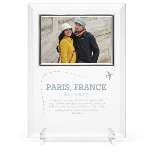 Journey Glass Frame, 8x11 Engraved Glass Frame, - Photo insert, White
