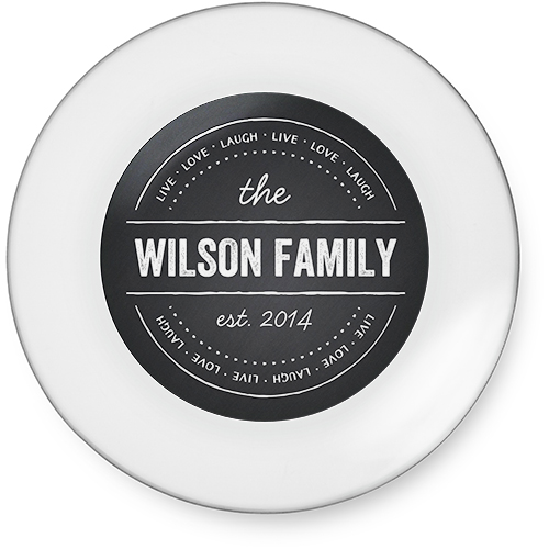 Love Family Chalkboard Glass Plate, 7x7, Grey