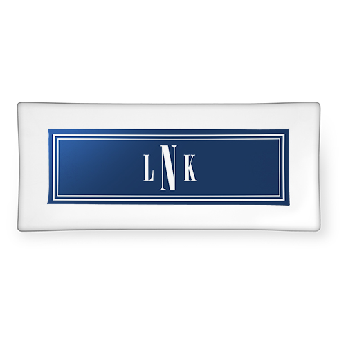 Timeless Border Monogram Glass Plate, 4x10, Blue