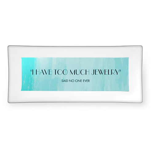 Ombre Watercolor Turquoise Catch All Tray, 4x10, Blue