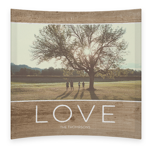 Rustic Love Curved Glass Print, 7 x 7 inches, Curved, Brown