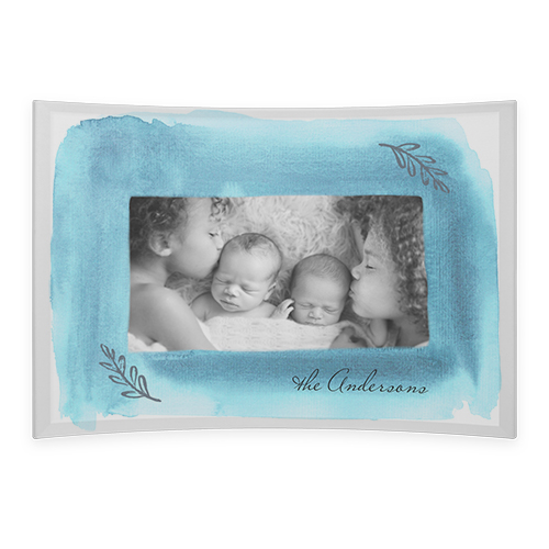 Watercolor Frame Curved Glass Print, 7 x 10 inches, Curved, Blue