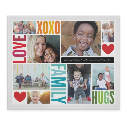 Family Love Hugs Flat Glass Print