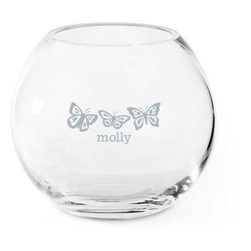 Beautiful Butterflies Glass Vase, Glass Vase (Round), Glass Vase Single Side, White