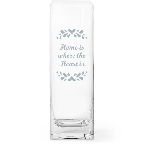 Folk Art Glass Vase, Glass Vase (Square), Glass Vase Single Side, White