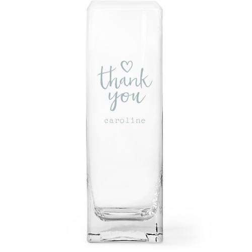 Thank You Glass Vase, Glass Vase (Square), Glass Vase Single Side, White
