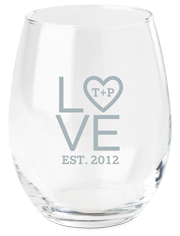 stacked love initials wine glass