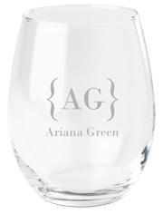 bracket monogram name wine glass