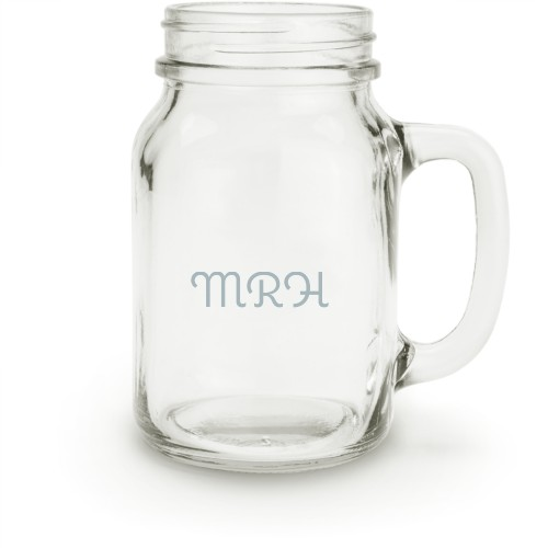 Trad Monogram Mason Jar, White